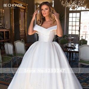 Image 3 - Sweetheart Off Shoulder Satin Wedding Dress Appliques A Line Court Train BECHOYER I193 Princess Bridal Gown Vestido de novia