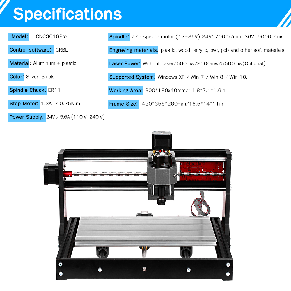 3-Axis CNC Laser Engraver/ Laser Engraving Machine/PCB Milling Machine 4