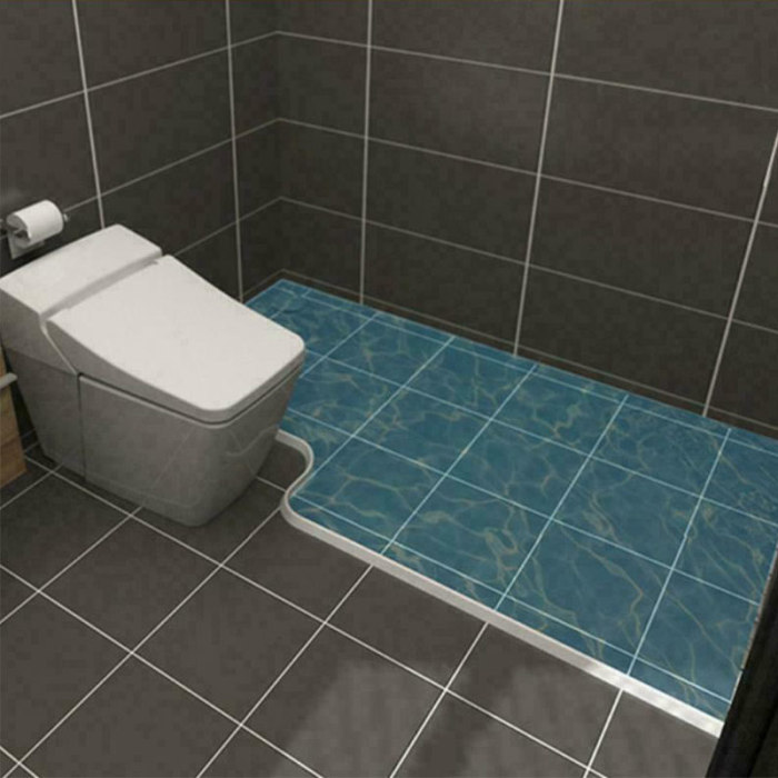 39 Inch Collapsible Shower Threshold Water Dam Water Stopper Barrier and Retention System Dry and Wet Separation