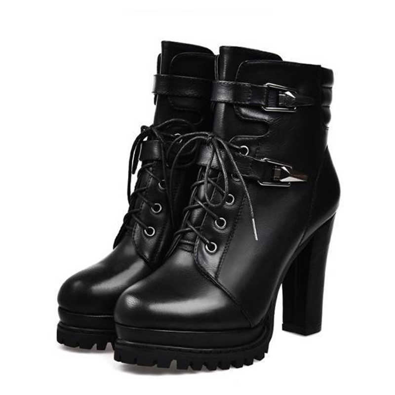 2019 Inverno Ankle Boots Mulheres de Couro Falso Bloco Plataforma Chunky Grosso 10 centímetros de Ultra Salto Alto Sapatos Gladiador Bundinha