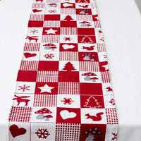 Christmas linen table flag 35*170 cm Christmas elk print table flag Christmas creative decoration table flag wholesale