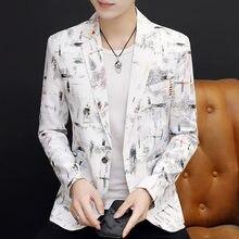 Модные мужские блейзеры приталенная Мужская куртка с принтом