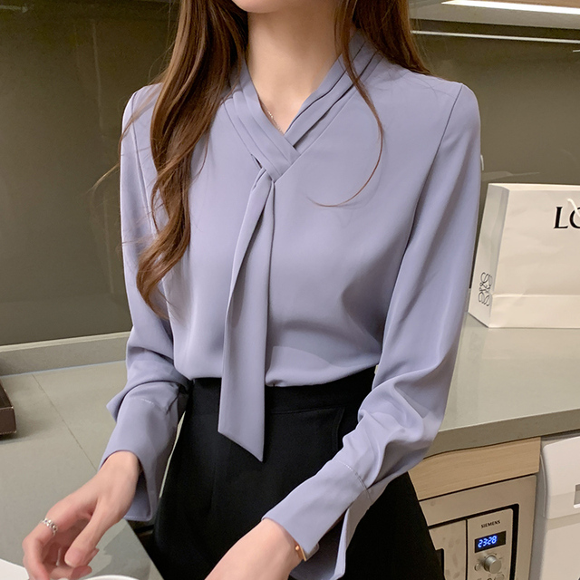 Office Lady Shirts and Blouses Women 2021 Autumn Fashion Bow Shirt Solid Loose Pullover Plus Size Long Sleeve Chiffon Tops 11050 3