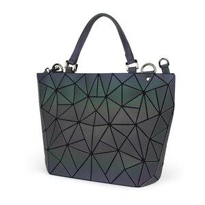 Image 5 - Flower poetry Bao Bag Women Luminous Bucket Bag Geometry Diamond Shoulder Bags Casual Folding Handbags Ladies Messenger Bags