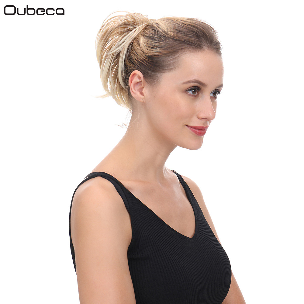 Oubeca Hair-Bun Ponytail-Extension Scrunchies-Wrap Donut-Chignon Elastic-Messy Straight