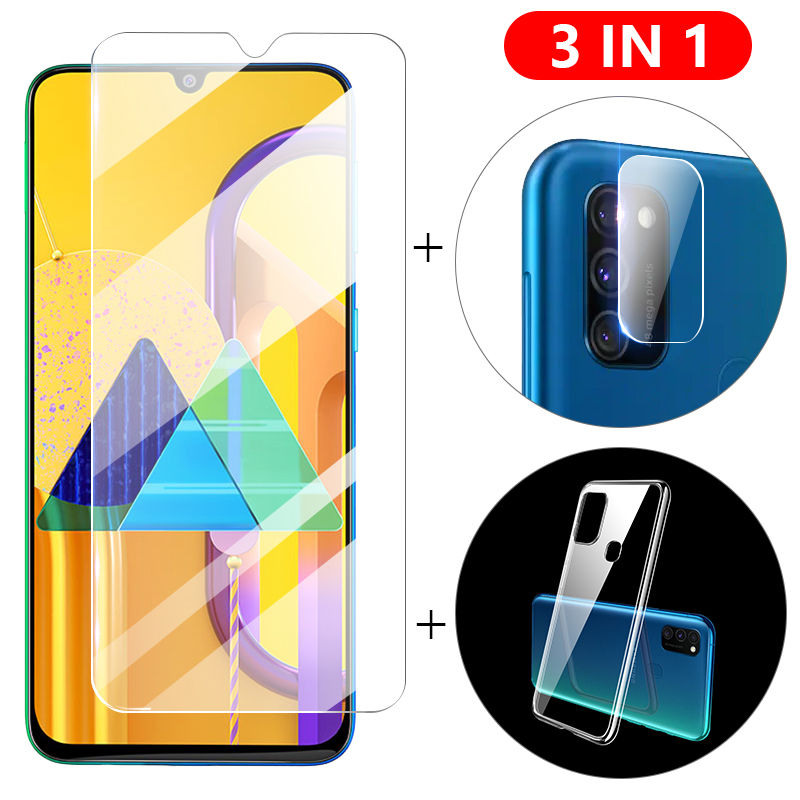 3-in-1 Case + Camera Glass For Samsung A51 A71 M30S Screen Protector Lens Glass On For Galaxy Note 10 S10 Lite A40 A50 A70 Glass