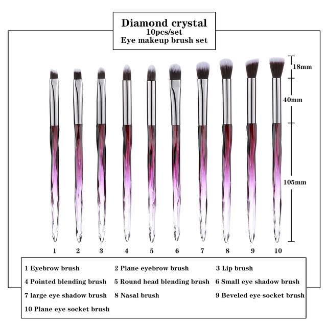 FLD 10Pcs Eye Brush Mini Diamond Makeup Brush Set Eye Shadow Lip Eyebrow Brushes High Quality Professional Lip Eyeliner Tools 3