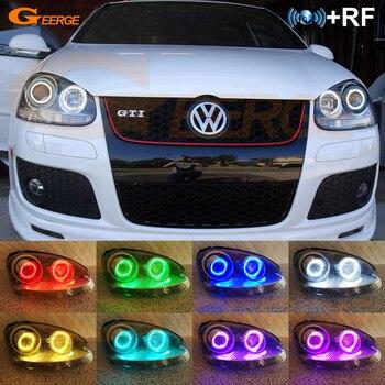 цена на For Volkswagen VW Golf Rabbit Jetta GTI R32 MKV MK5 2005-2010 Excellent RF remote Bluetooth APP Multi-Color RGB led angel eyes