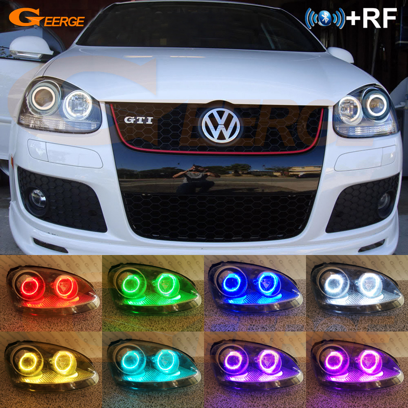 For Volkswagen <font><b>VW</b></font> <font><b>Golf</b></font> Rabbit Jetta GTI R32 MKV <font><b>MK5</b></font> 2005-2010 Excellent RF remote Bluetooth APP Multi-Color RGB <font><b>led</b></font> angel eyes image