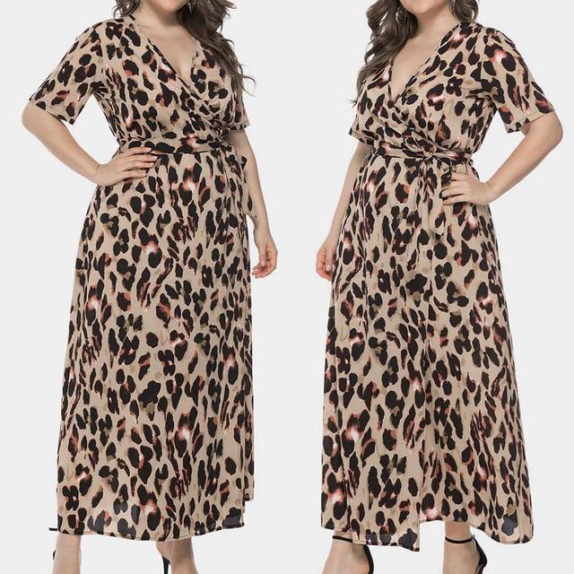 Plus sized v-neck long maxi dress, leopard print 4