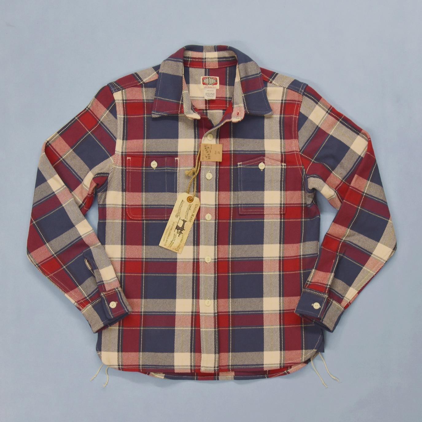 BOB DONG Ultra Heavy Plaid Shirts Men's Workwear Long Sleeved Checked Shirts