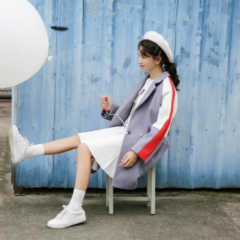 2017 Осень и зима новый стиль Южная Корея Dongdaemun женская короткая высота шерстяная куртка pin se xiu пальто средней длины