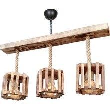 Rustic Wood Chandelier 3 Baskets Rope Wood Chandelier Custom Design Indoor Lighting