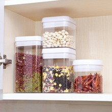 Kitchen Preservation Jars Transparent Sealing Food Storage Cans Container Grain Sugar Nuts Bin With Buckl