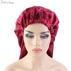 Nouveau surdimensionné élastique Satin baril soie cheveux longs Bonnet respirant Bonnet de couchage Turban sommeil chapeaux pour adulte