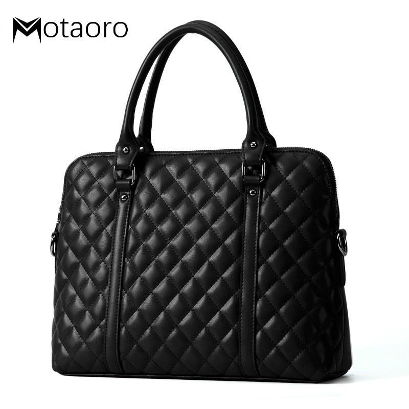 Fashion Cow Leather Diamond Lattice Handbag Genuine Leather Women Business Briefcase Women 14.1