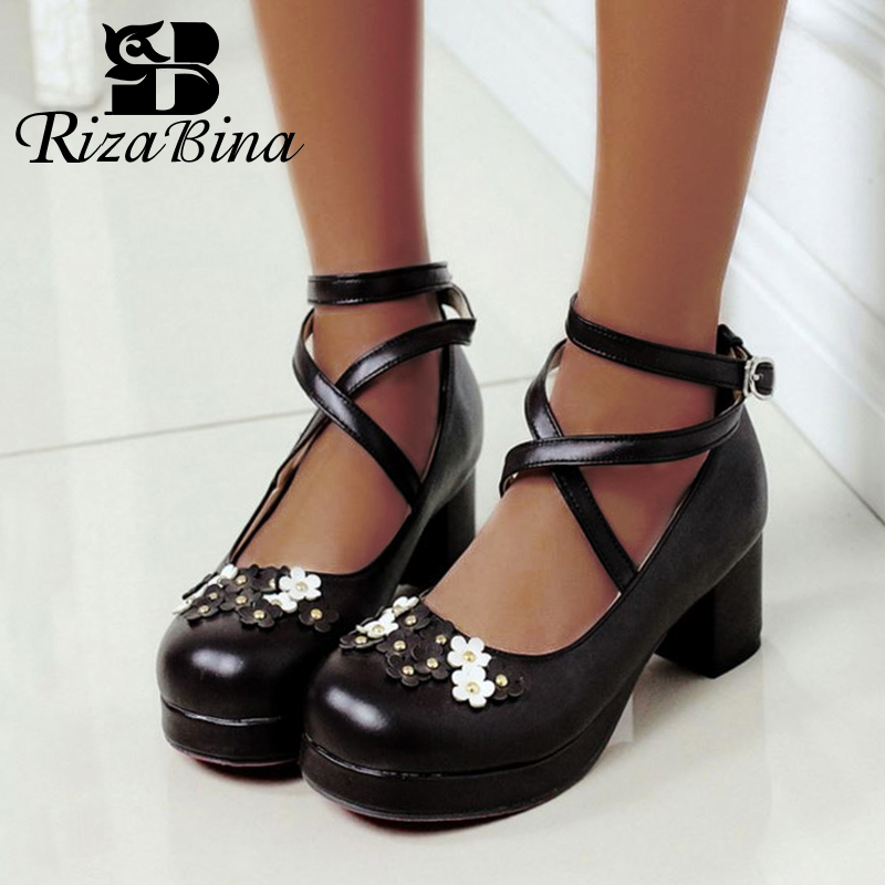 RizaBina Plus Size 30-48 5 Color Women Pumps Cross Strap Buckle Thick Heels Shoes Sweet Flower Brand Lolita Women Footwear