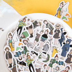46PCS/BOX Girl Series Fashion Sticker Hand Account Album Decoration Seal Paste DIY Stickers Planner Scrapbooking Stationery