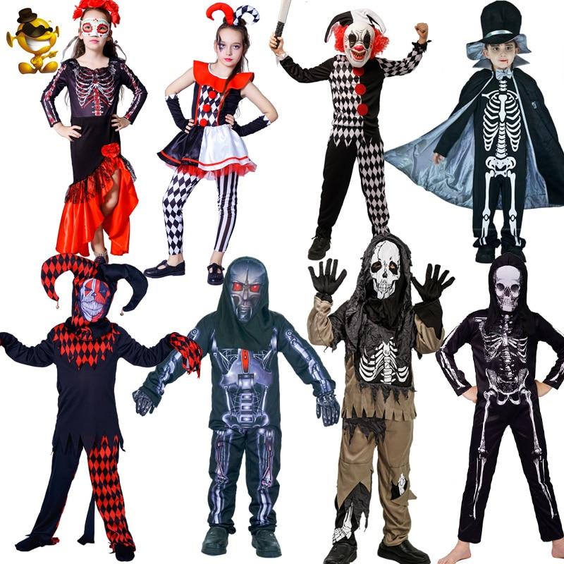 Kids Boys Fright Ghoul Ghost Demon Grim Reaper Death Skeleton Halloween Costume