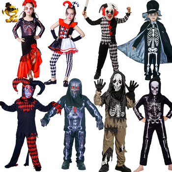 Halloween Boy Girl Evil Skeleton Costume Masquerade Purim Carnival Party Cosplay Kids Evil Jester Clothes Halloween Costumes 2020 new kids carnival clothing girl halloween mermaid cosplay dresses summer swimming clothes model costume