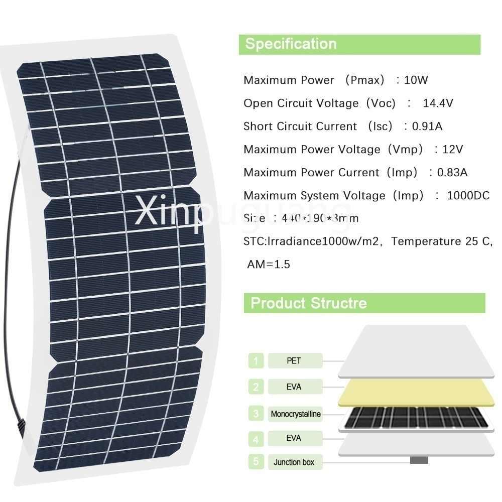 Xe Cắm Trại Thương Hiệu Ô Tô Năng Lượng Mặt Trời Panel Thuốc Lá ĐTDĐ Cho Xinpuguang Với 2X20 W Bóng Đèn LED 12 V 10W Pin