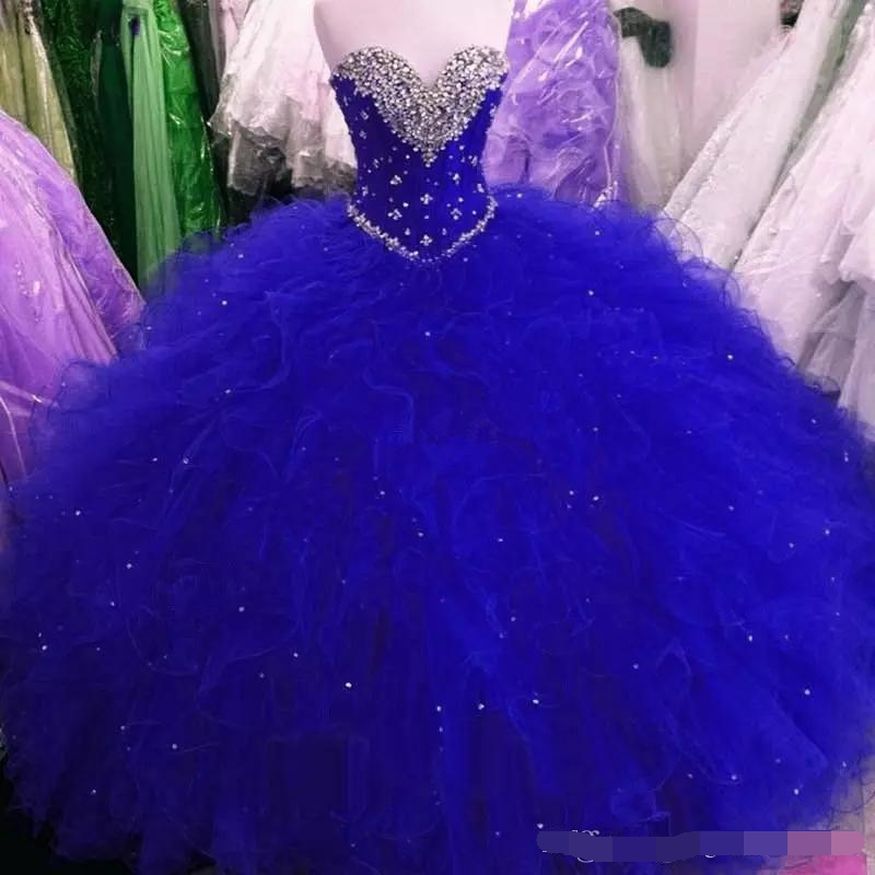2019 Royal Blue Sweet 16 Party Debutantes Ball Gown Puffy Tulle Crystals Sweetheart Corset Back Plus Size Quinceanera Dresses