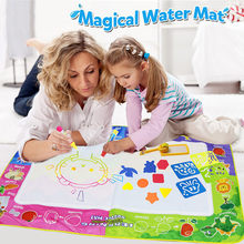 Kids Painting Water Toys 150*100CM Boys Doodle Mat With Play Pen EVA Rubber Crafts Magic Water Drawing Aqua Mat Arts Educational(China)