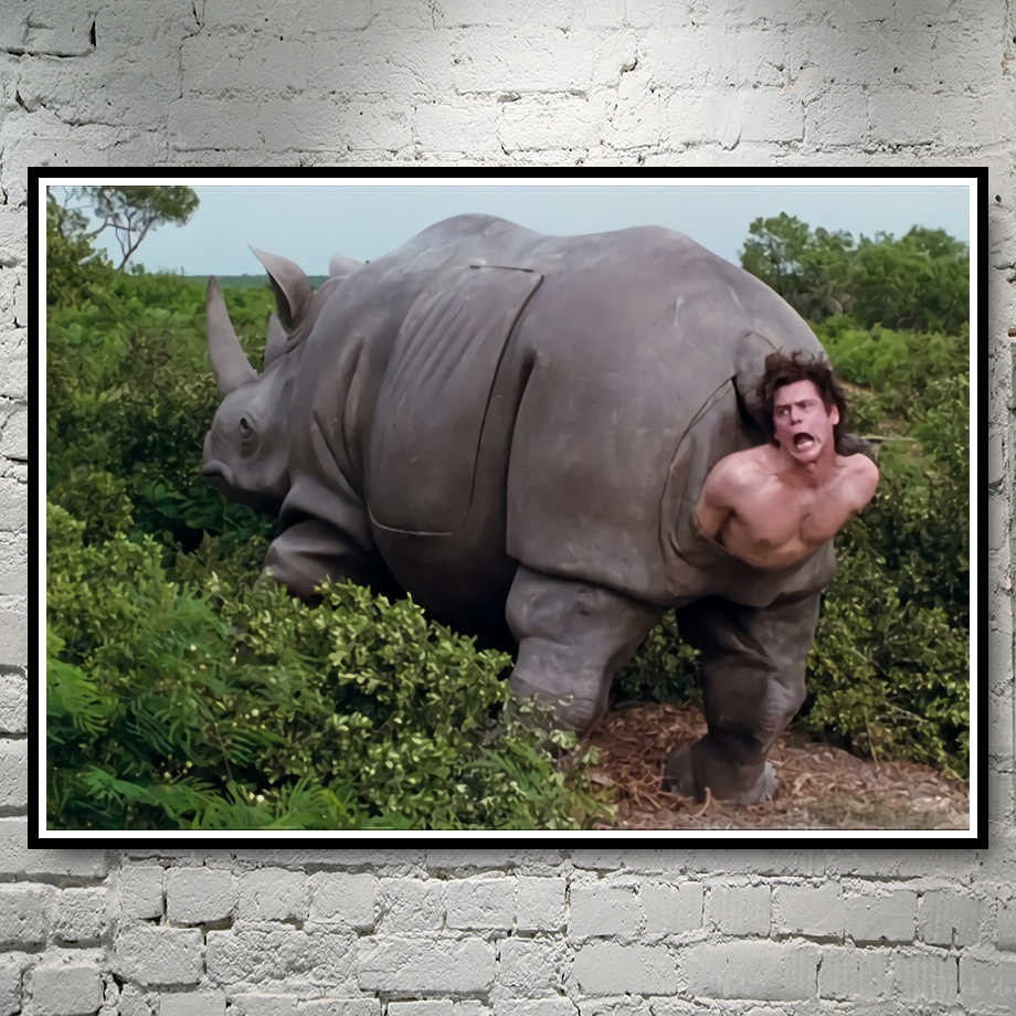 Ace Ventura Rhino Print The rhino scene in Ace Ventura Funny Poster No Frame