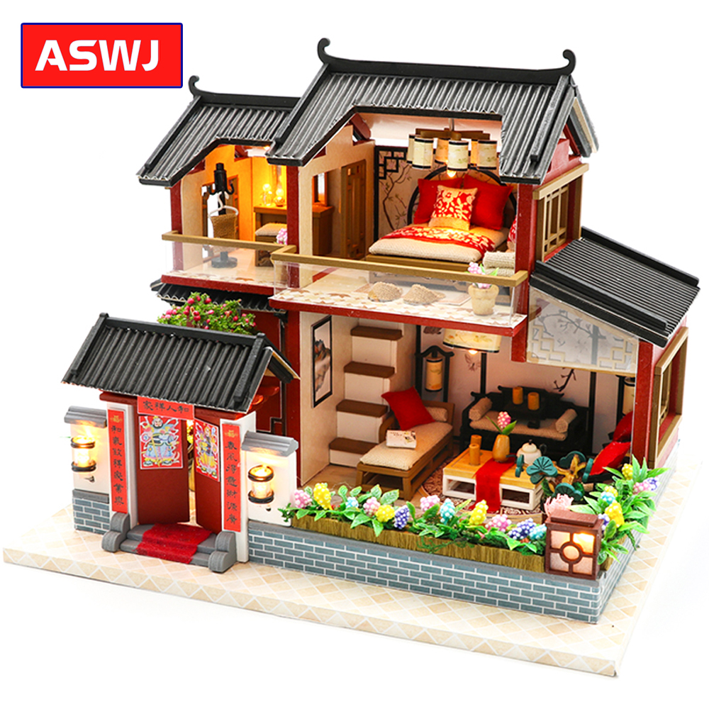 New Roombox Miniature DIY Dollhouse With Furnitures Casa House Countryard Dweling Toys For Children Birthday Christmas Gifts