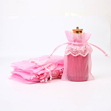 10x15cm lace l side organza beam pocket Christmas candy gift drawstring bag jewelry bag 20pcs
