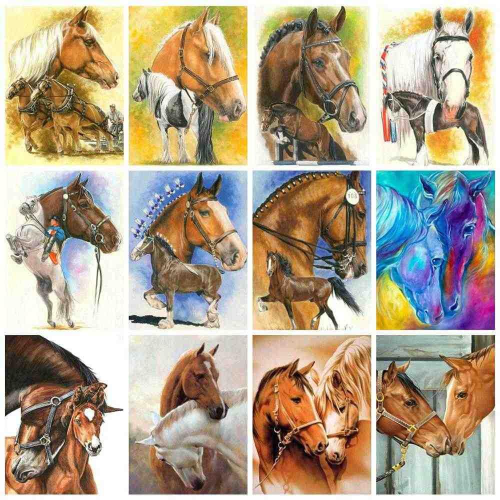 Huacan Diy יהלומי ציור סוס יהלומי אמנות פסיפס בעלי החיים מלא תרגיל רקמת החווה בית תפאורה