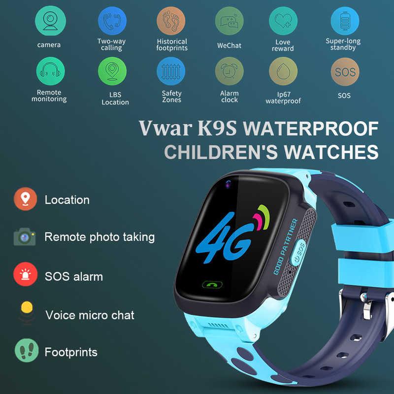 Vwar K9S 4G Children GPS Smart Watch Video call Wifi SOS Kids Clock Waterproof GPS Tracker Camera Baby Smartwatch VS Q50 Q90