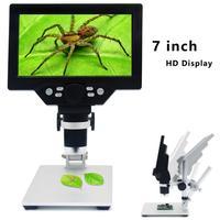 Microscopio electrónico Digital con Zoom continuo G1200, pantalla LCD HD de 7 pulgadas, portátil, cámara multiángulo
