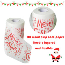 Hot New Christmas Decoration Roll Paper Christmas Printing Paper Toilet Tissues Novelty Roll Paper Christmas Decoration for home(China)