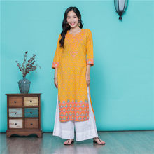 India Robe Suit Yellow Embroidery Pure Cotton Thin Saree Clothing Pakistani Dres
