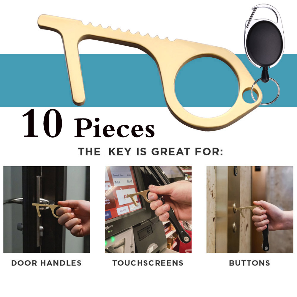 Wholesale 10PCS Cleankey Brass Copper Alloy Clean Key Door Opener No Touch Antimicrobial Brass Hand Tool For Dropshipping 2020
