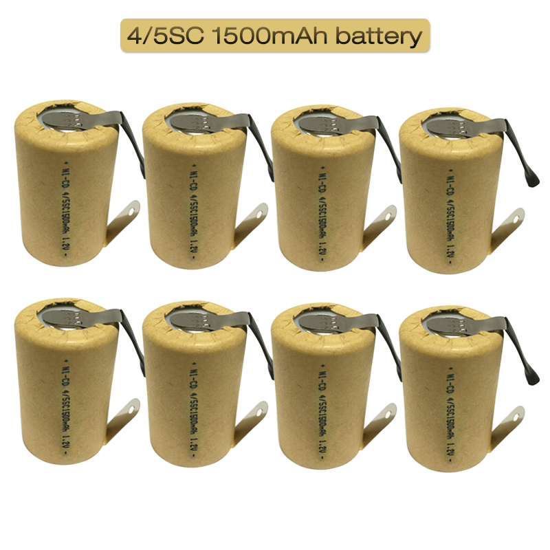 4/5SC <font><b>1.2V</b></font> <font><b>1500mAh</b></font> SC Subc Ni-CD Rechargeable <font><b>Battery</b></font> Nickel Cadmium with welding tabs for Power Tool Drills <font><b>Battery</b></font> image