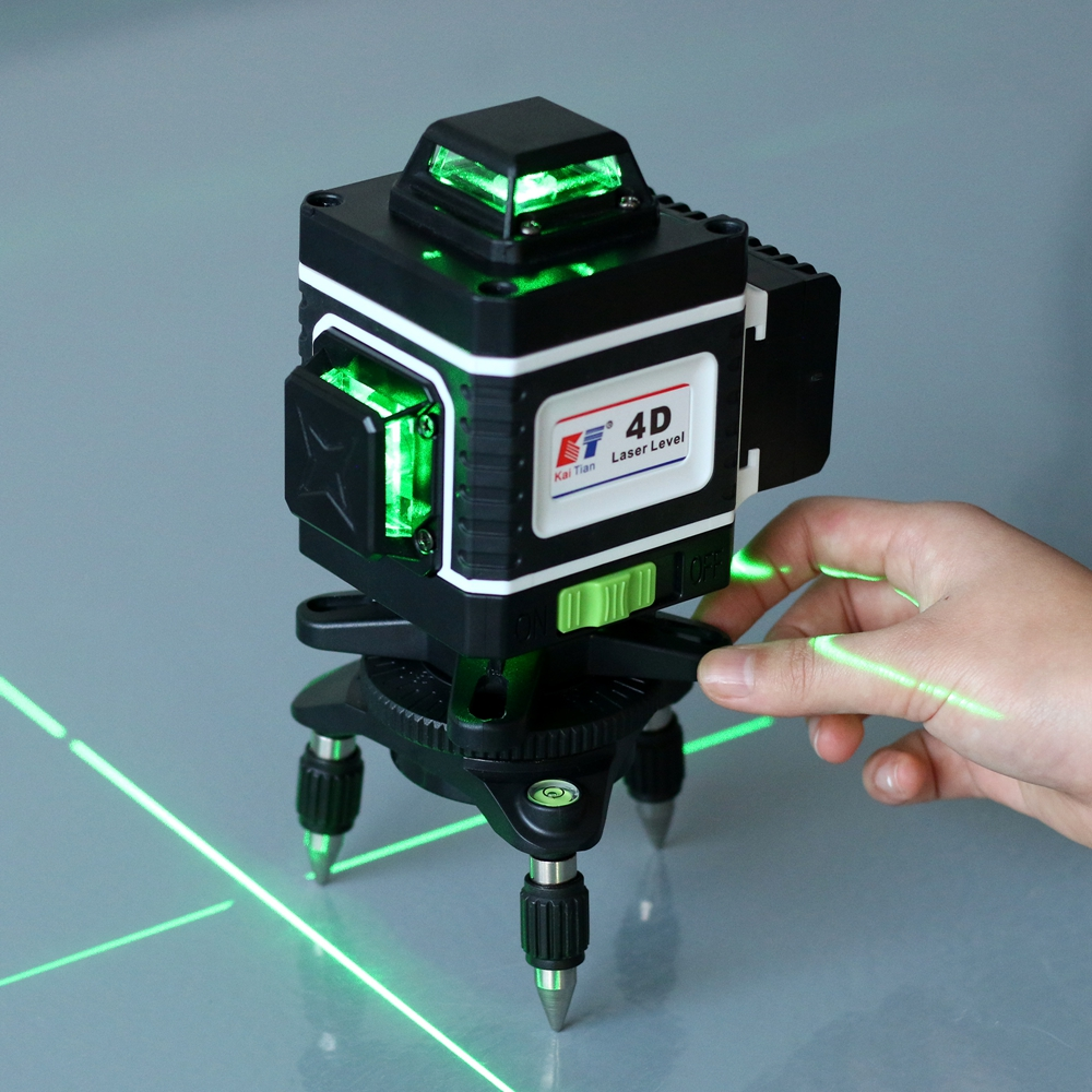Kaitian Laser Powerful Level 520nm 4D Leveling  Nivel Amp Horizontal Green Self Lasers 16 Receiver 360 Bracket Lines Vertical Tripod