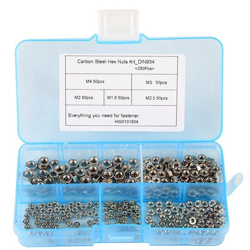 250 Pcs/Set M1.6 M2 M2.5 M3 M4 Carbon Steel Hex Nut Assortment Kit Hexagon Nuts Metric Thread Assortment Kit