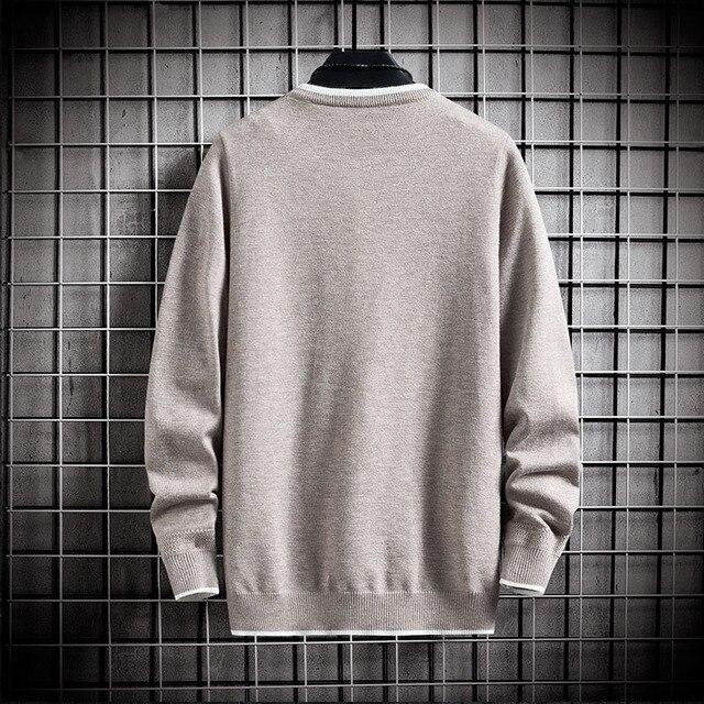 Jersey de manga larga para hombre, jersey de moda coreana, Jersey de punto de cuello redondo informal, ropa de talla asiática, 2020 4