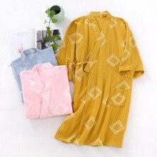 Kimono Robe Cotton Dressing-Gown Long-Sleeve Woven Plus-Size Home Crepe Geometric Loose