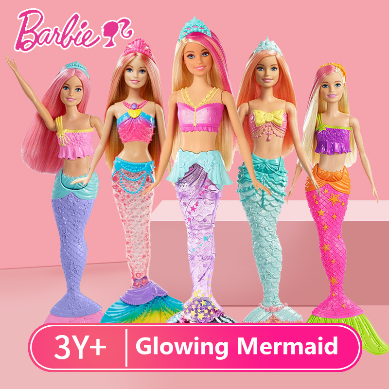 Original Barbie Mermaid Doll Feature Rainbow Lights Doll The Girls Toys For Chilren A Birthday Present Gift Boneca