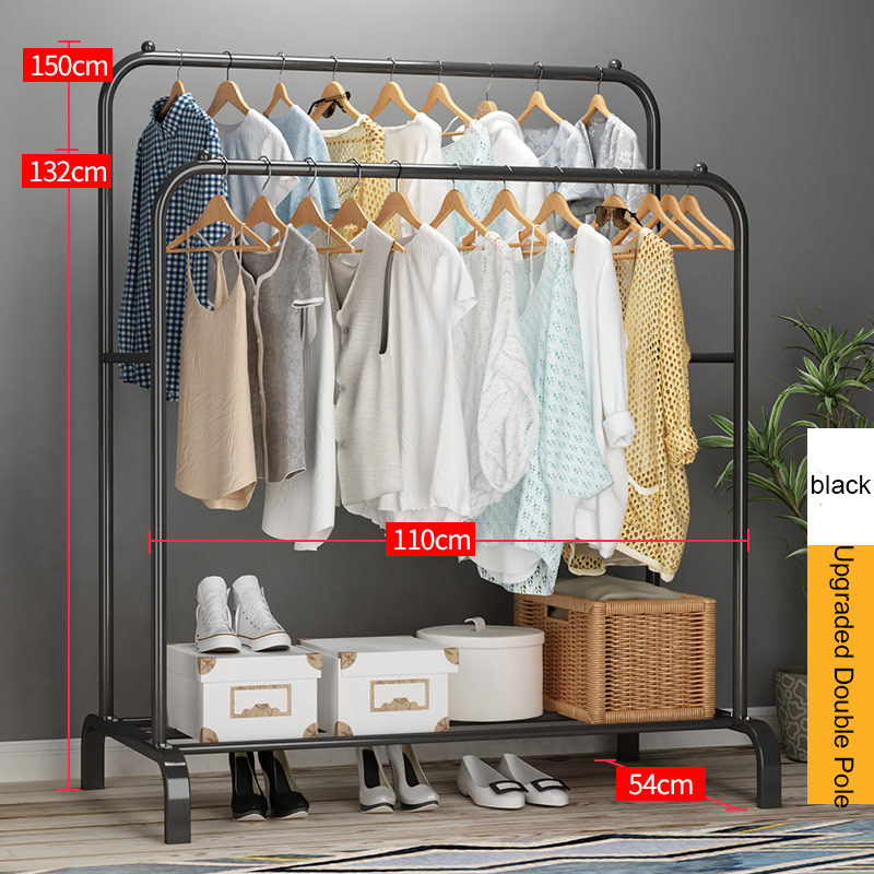 Clothing Rack Coat Hanger Wardrobe Storage Pole-Style Balcony Bedroom Metal Indoor Home