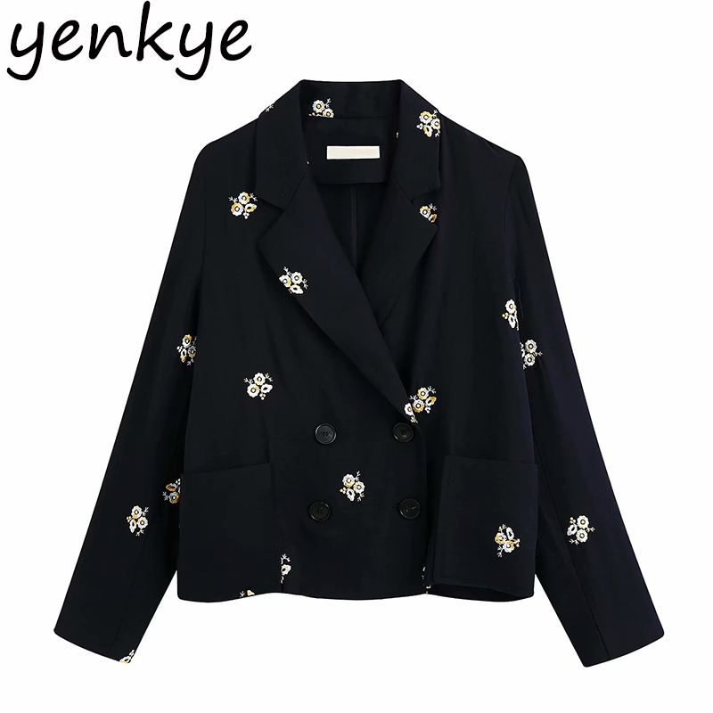 Floral Embroidery Blazer Women Notched Collar Long Sleeve Office Blazer Mujer Double Breasted Casual Suit Crop Outerwear