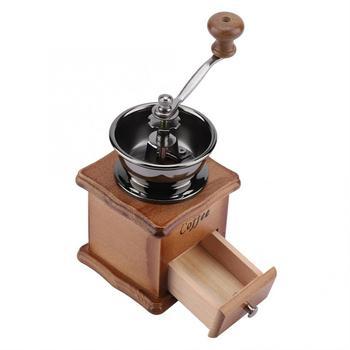 Cafetera ekspres do kawy młyn drewniana metalowa obudowa Retro Mini ręczny młynek do kawy ręcznie Maschine Bean stożkowy Burr hot tanie i dobre opinie Ashata Instrukcja manual coffee bean grinder Other