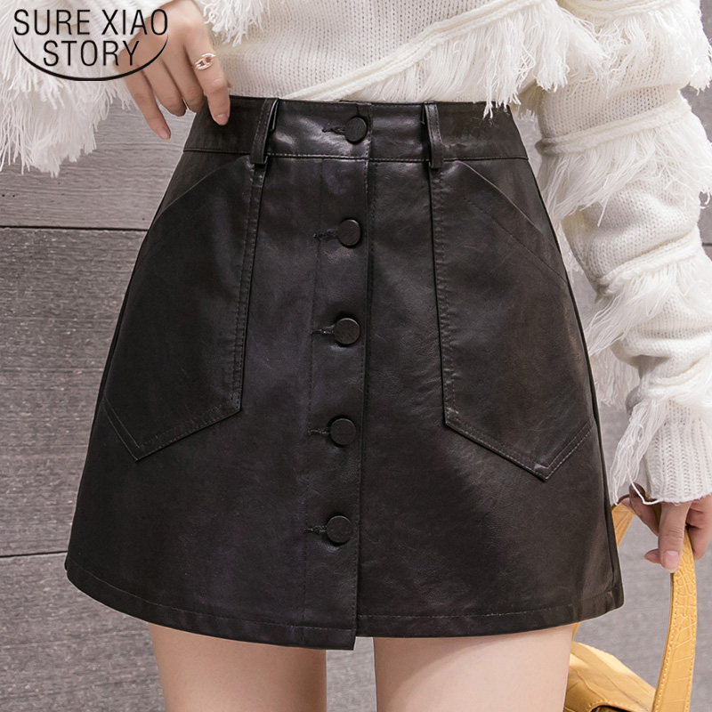 Korean Casual Solid High Waist Shorts Wide Leg Shorts 2019 Autumn/Winter Wild PU Leather Plus Size Shorts Female  7472 50