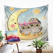 Cartoon Print  Wall Tapestry Cute Night Owl Motif Throw Rug High Quality Macrame Panel Modern Home Decoration Dorm Decor