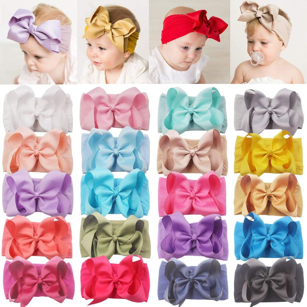 20 Pieces 6 Inch Soft Elastic Nylon Headbands Hair Bows Headbands Hairbands For Baby Girl Toddlers Infants Newborns DED