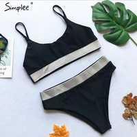 Simplee Glitter string women bikini set Push up bathing suit high waist swimsuit female Sexy high cut swimwear two-piece suits
