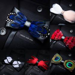 JEMYGINS новое качество мужские ручной работы перо и кожа галстук-бабочку Предварительно Связанные бабочкой с подарочной коробке костюм для